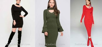 Kışlık Elbise Kombinleri ve Son Moda 2019 Triko Elbiseler