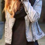 2019 Kloş Etek Kombinleri Kırmızı Kısa Etek Siyah Kazak Kot Ceket