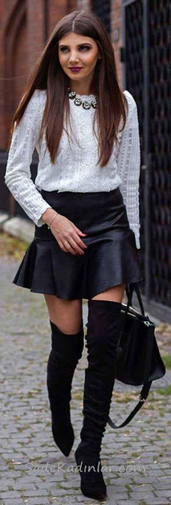 Kloş Etek Kombinleri Siyah Kısa Deri Etek Beyaz İşlemeli Bluz