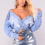 Kot Etek Kombinleri Mavi Kısa İncili Etek Ceket Tipi V Yakalı Bluz