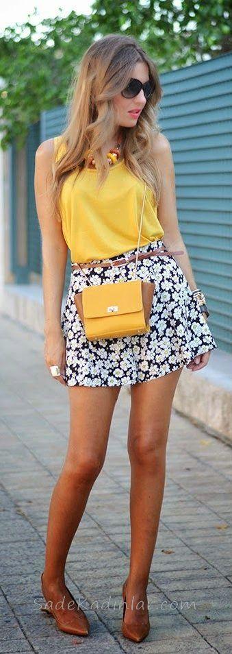 Mini Etek Sokak Modası Kombinleri Beyaz Desenli Etek Sarı Kolsuz Bluz