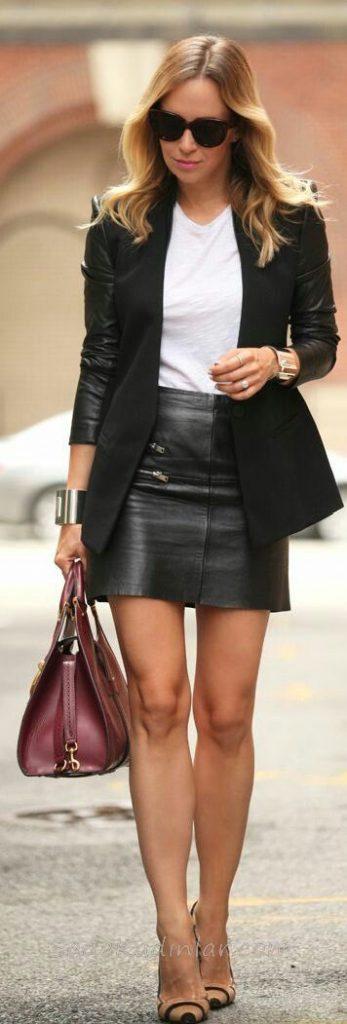 Mini Etek Sokak Modası Kombinleri Siyah Etek Beyaz Tişört Siyah Ceket