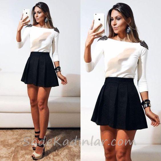 Mini Etek Sokak Modası Kombinleri Siyah Kloş Etek Beyaz Kayık Yaka Bluz