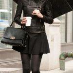 Mini Etek Sokak Modası Kombinleri Siyah Kloş Etek Siyah Bluz Deri Ceket