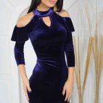 Mor Abiye Kadife Elbise Kısa Omuzları Açık Fırfır Detaylı