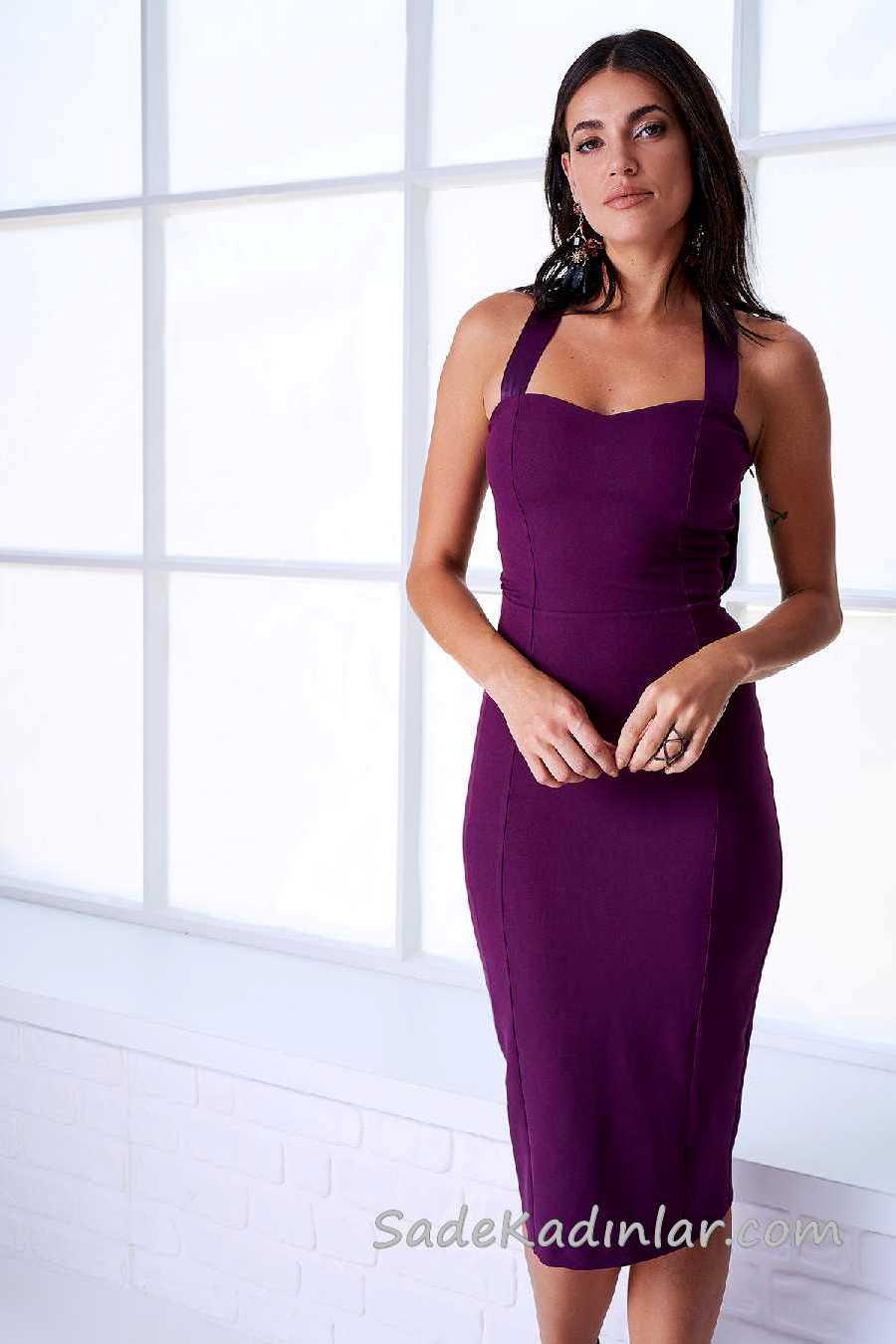 2020 Mürdüm Abiye Elbise Modelleri Dizaltı Kalın Askılı Kalp Yakalı