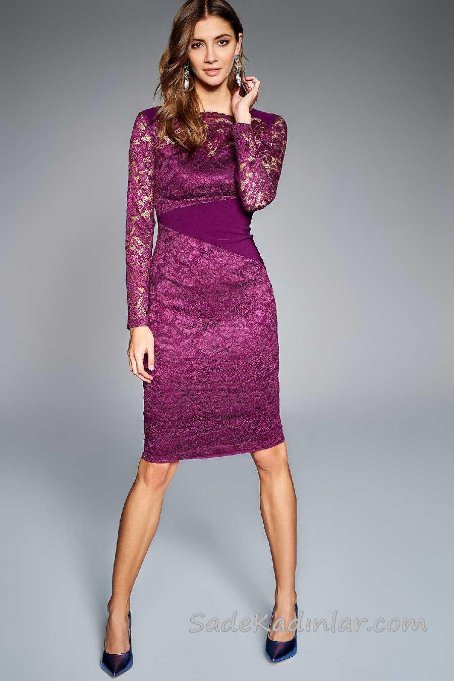 2020 Mürdüm Abiye Elbise Modelleri Dizboyu Kayık Yaka Uzun Kollu Dantelli