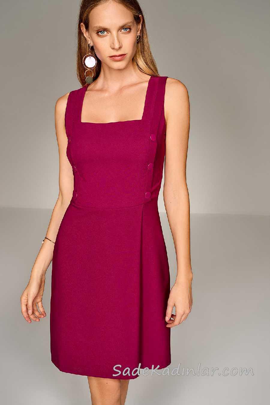 2020 Mürdüm Abiye Elbise Modelleri Kısa Kalın Askılı Düğme Detaylı