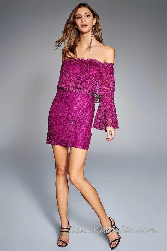 Mürdüm Elbise Modelleri Kısa Karmen Yaka Düşük Kol Fırfırlı Dantelli