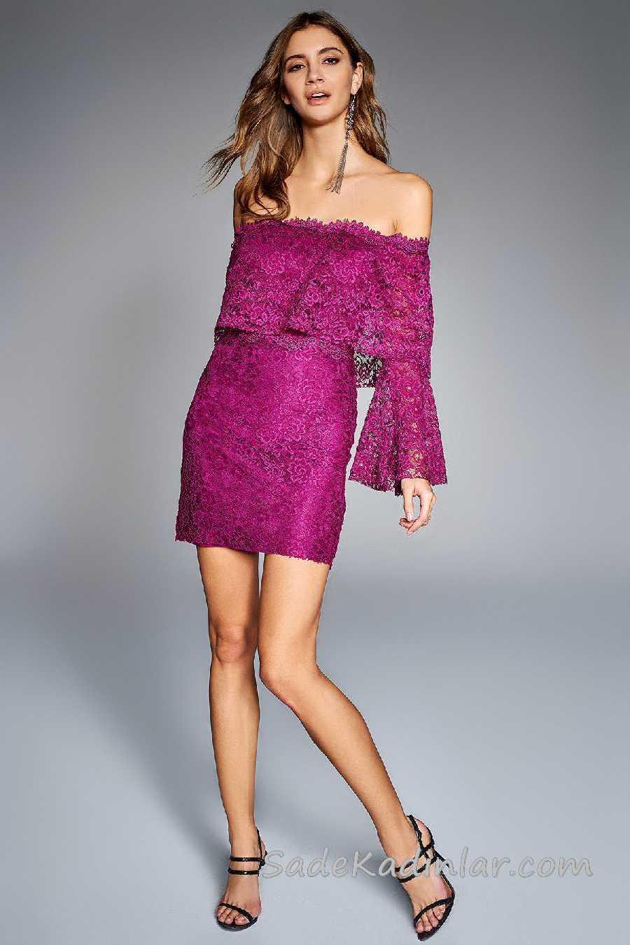 2020 Mürdüm Abiye Elbise Modelleri Kısa Karmen Yaka Düşük Kol Fırfırlı Dantelli