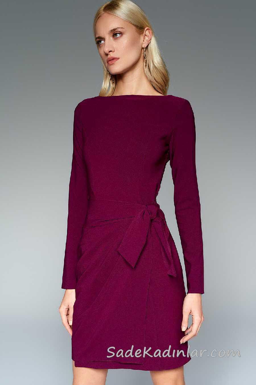 2020 Mürdüm Abiye Elbise Modelleri Kısa Kayık Yaka Yandan Bağlamalı