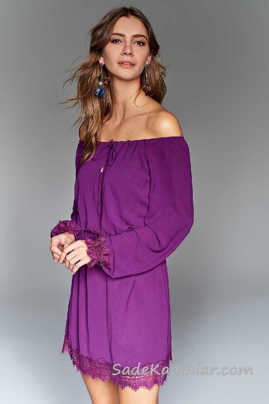 2020 Mürdüm Abiye Elbise Modelleri Kısa Omzu Açık Büzgülü Uzun Kollu Dantelli