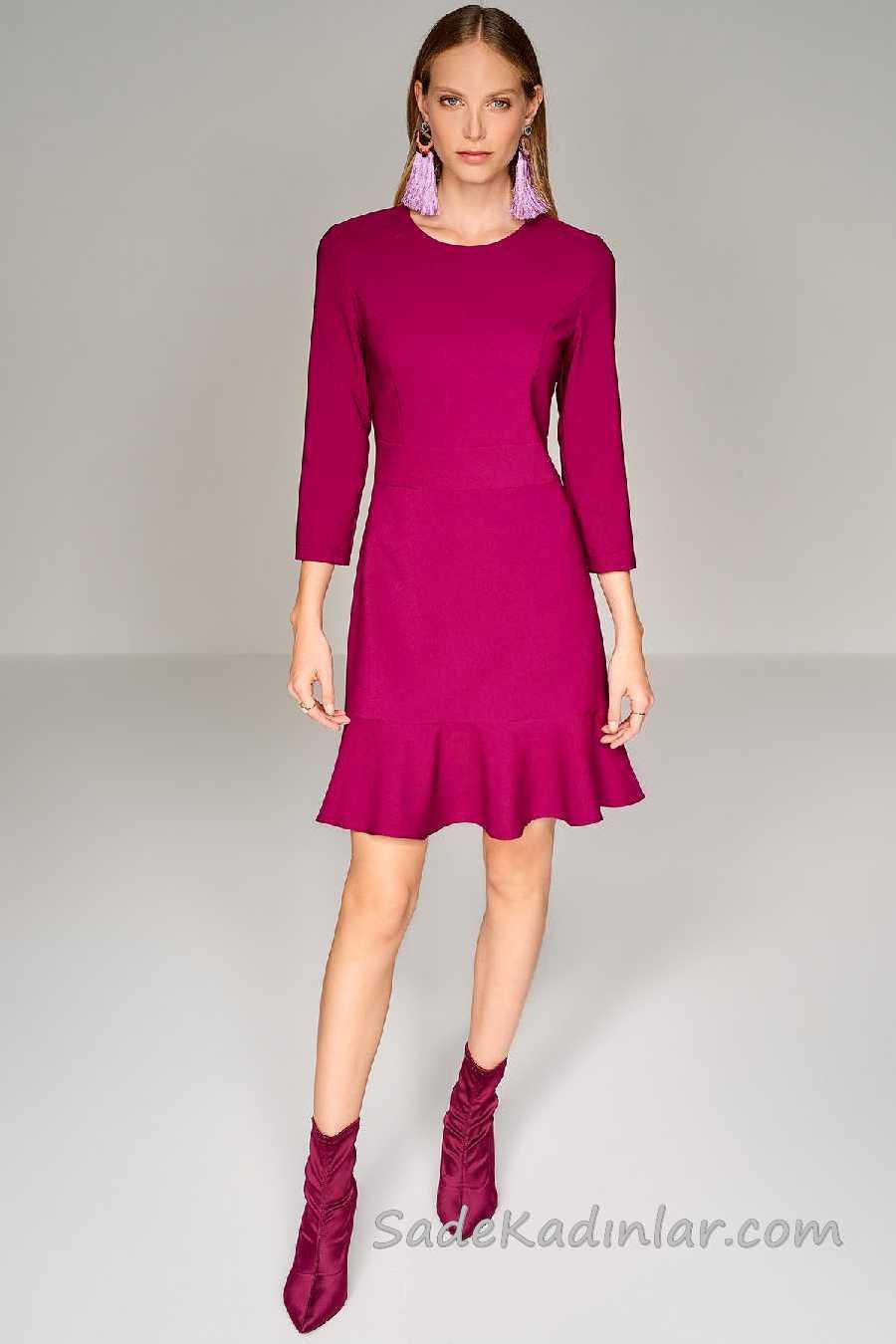 2020 Mürdüm Abiye Elbise Modelleri Kısa Uzun Kollu Eteği Fırfır Detaylı