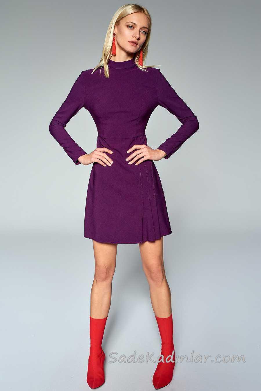 2020 Mürdüm Abiye Elbise Modelleri Kısa Uzun Kollu Pile Detaylı Etek