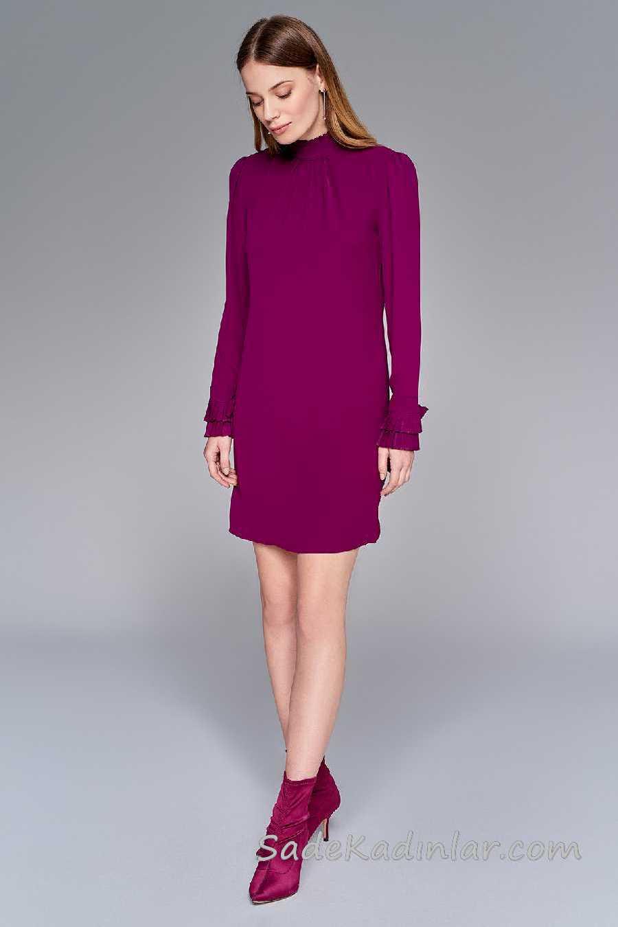 2020 Mürdüm Abiye Elbise Modelleri Kısa Uzun Kollu Yakası ve Kolları Fırfırlı