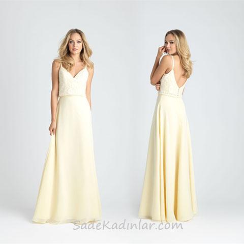 2020 Abiye Elbise Modelleri Krem Uzun Askılı Sırt Dekolteli