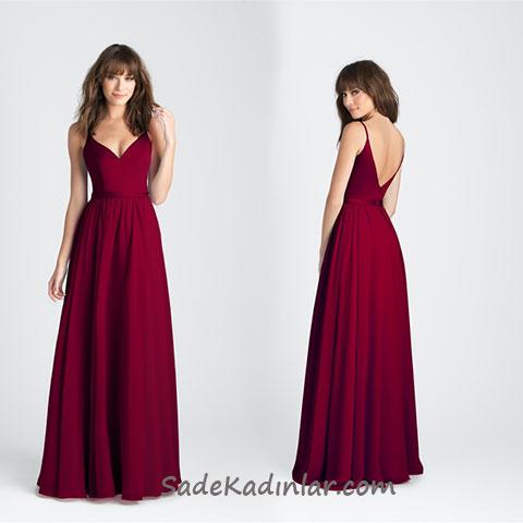 2020 Abiye Elbise Modelleri Vişne Uzun Askılı V Yakalı