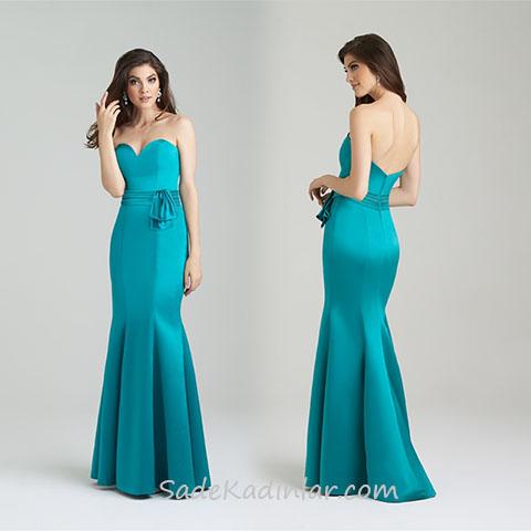 2020 Abiye Elbise Modelleri Yeşil Uzun Straplez Balık Etek Kalp Yaka