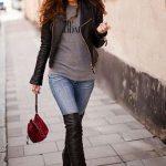 Çorap Çizme İle En Tarz Sokak Modası Kombinleri, Şık Diz Üstü Çizme Modelleri