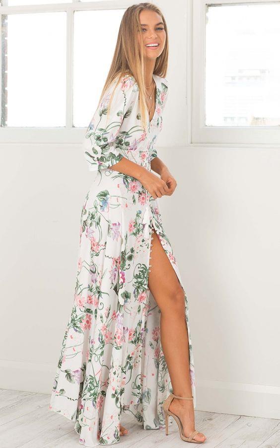 a4c99eecd06ce 2019 Uzun Çiçekli Elbise Modelleri İle Yaz Modası | SadeKadınlar ...