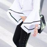 2020 Topuklu Ayakkabı İle Kıyafet Kombinleri Siyah Pantolon Beyaz Uzun Kol Gömlek