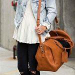 2020 İlkbahar/Yaz Kıyafet Kombinleri Siyah Skinny Pantolon Beyaz Gömlek Mavi Kot Ceket