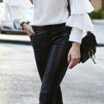 2020 İlkbahar/Yaz Kıyafet Kombinleri Siyah Skinny Kot Pantolon Beyaz Uzun Kol Bluz Siyah Stiletto Ayakkabı