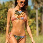 2018 Bikini Modelleri Turuncı Halter Yakalı Desenli