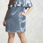 Büyük Beden Abiye Elbise Gümüş Kısa Straplez Katmanlı Fırfırlı Yaka