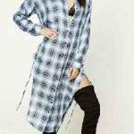 Gömlek Elbise Son Moda Şık Elbise Modelleri Gri Midi Uzun Kollu Ekose Desenli