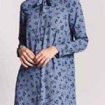Gömlek Elbise Son Moda Şık Elbise Modelleri Mavi Kısa Uzun Kollu Desenli Yadası Bağcıklı