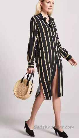 6b7fbca35da42 Gömlek Elbise Son Moda Şık Elbise Modelleri Siyah Dizboyu Uzun Kollu  Çizgili Önden Düğmeli. «