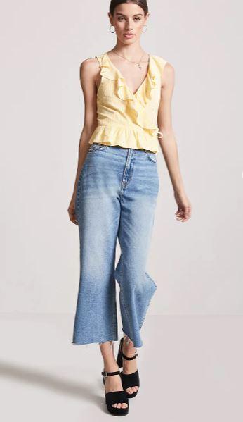 Günlük Kombinler- Outfit Mavi Kot Pantolon Sarı Kolsuz V Yaka Fırfır Detaylı Gömlek