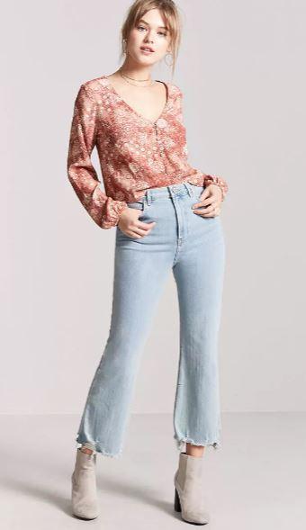 2019 Günlük Spor Kombinler - Outfit Mavi Kot Pantolon Tarçın V Yakalı Uzun Kollu Desenli Gömlek