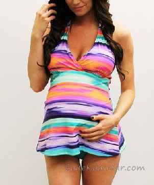 Hamile Mayosu Gökkuşağı Renkli Askılı V Yakalı Etekli