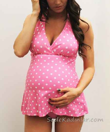 Hamile Mayosu Pembe Askılı V Yakalı Puantiyeli