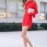 Kırmızı Elbise Modelleri Kısa Uzun Kollu Güpür Dantelli