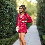 Kırmızı Elbise Modelleri Kısa V Yakalı Uzun Kollu