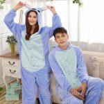 Pijama Takımları Bebek Mavisi Uzun Kollu Polar Kapşonlu Panda Önden Düğmeli