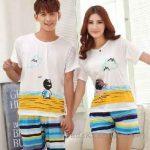 Pijama Takımları Beyaz Renkli Çizgili Desenli Kız ve Oğlan Figürlü