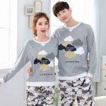 Pijama Takımları Gri Uzun Kollu Altı Desenli Üstü Bulut Fİgürlü