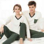 Pijama Takımları Gri ve Beyaz Uzun Kollu V Yakalı Küçük Cep Detaylı