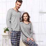 Pijama Takımları Gri ve Lacivert Uzun Kollu V Yakalı Altı Ekose Desenli