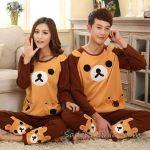 Pijama Takımları Kahverengi Uzun Kollu Panda Desenli
