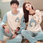 Pijama Takımları Mavi ve Krem Uzun Kollu Polar Önü Baykuş Desenli