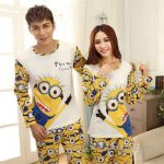 Pijama Takımları Sarı Uzun Kollu Minnion Karakter Desenli