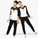 Pijama Takımları Siyah ve Beyaz Uzun Kollu Penguen Figürlü