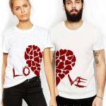 2021 Çift Kombinleri Beyaz Tişört Kalp Desenli Ve Love Yazılı