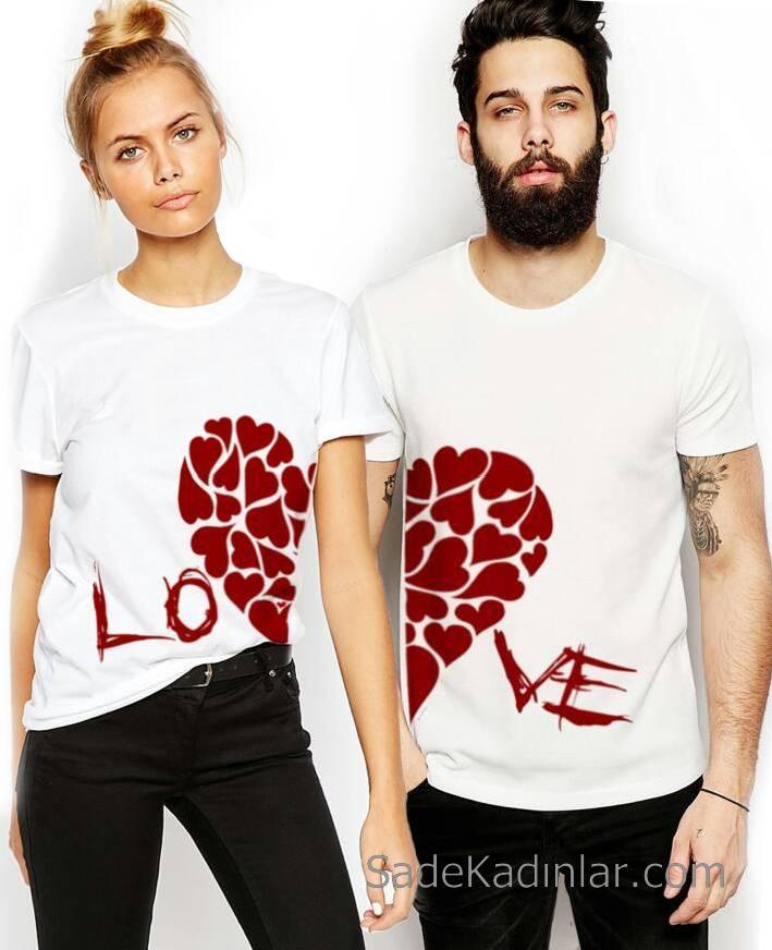 2019 Çift Kombinleri Beyaz Tişört Kalp Desenli Ve Love Yazılı