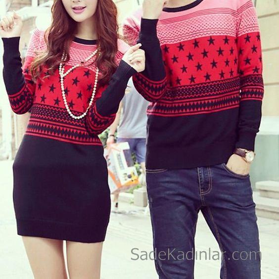 2021 Çift Kombinleri Siyah Kazak ve Siyah Kısa Elbise Kırmızı Desenli